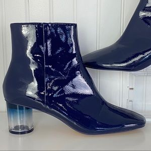 Zara Blue Faux Patent Leather Clear Heel Boot 9